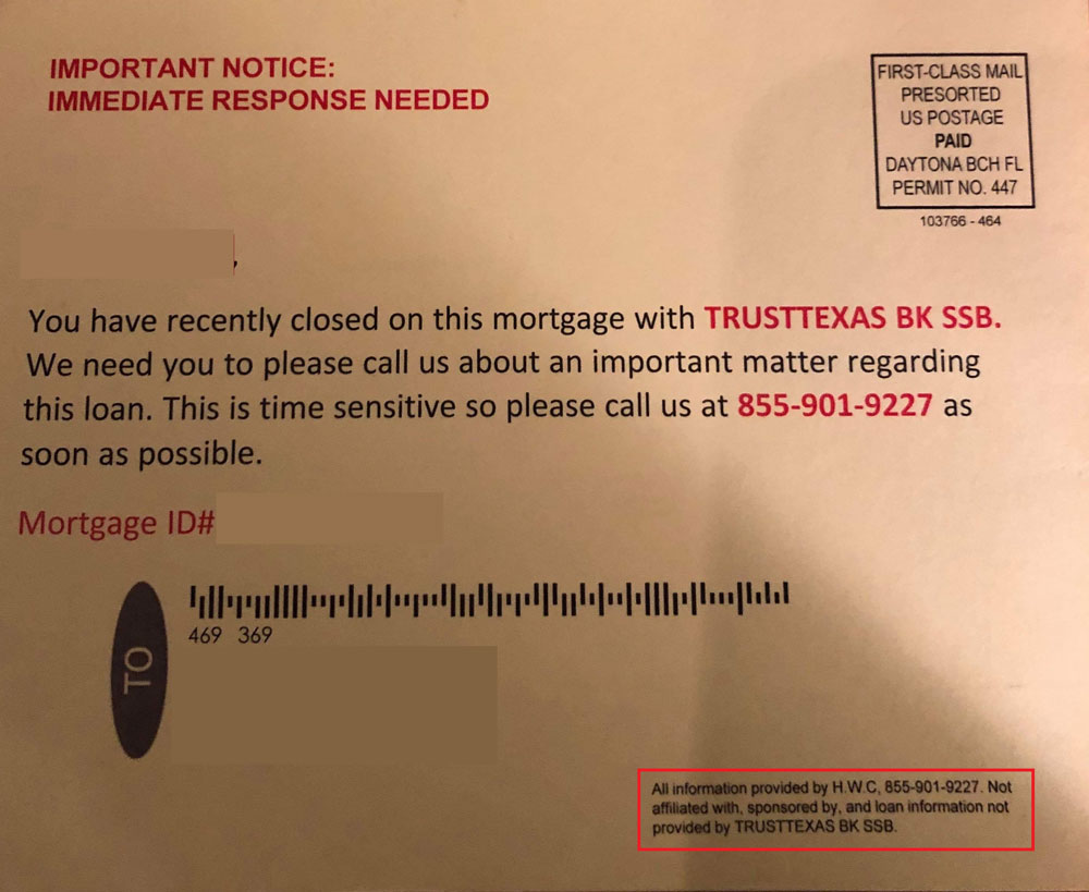 Postcard Mortgage Scam
